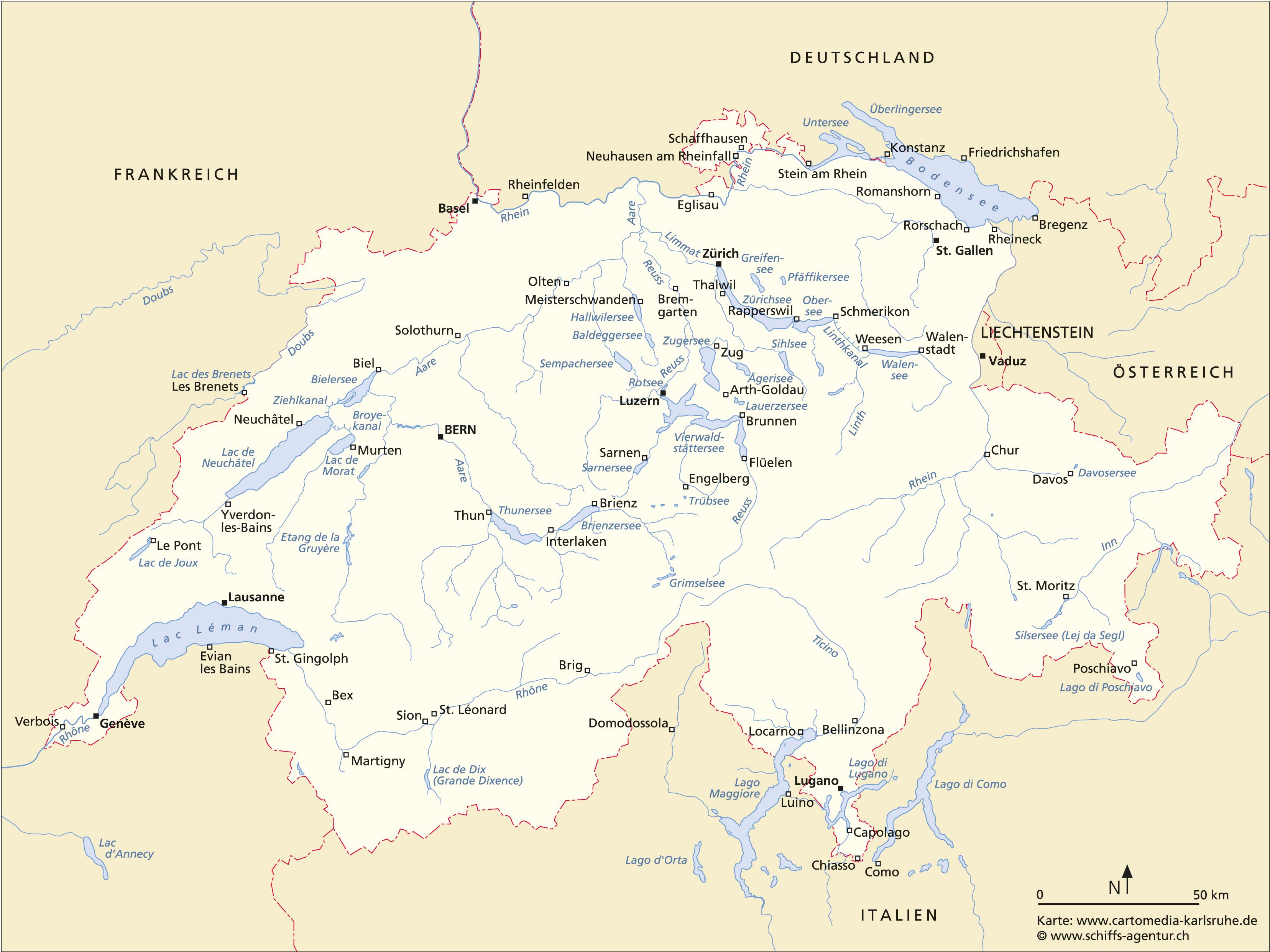 Schiffskarte Schweiz